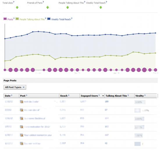 KPIs am Seitenkopf der Facebook Insights