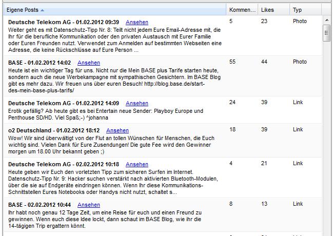 Beitäge auf Facebook inkl. der Interaktionsmetriken Kommentare - Likes plus dem Medientyp bei allfacebookstarts.com