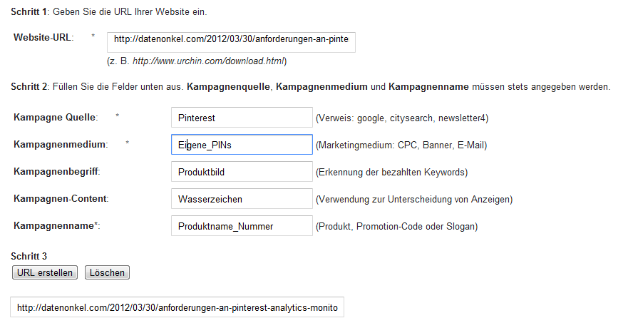 Google-Analytics Gernerierung Pinterest Tracking URL