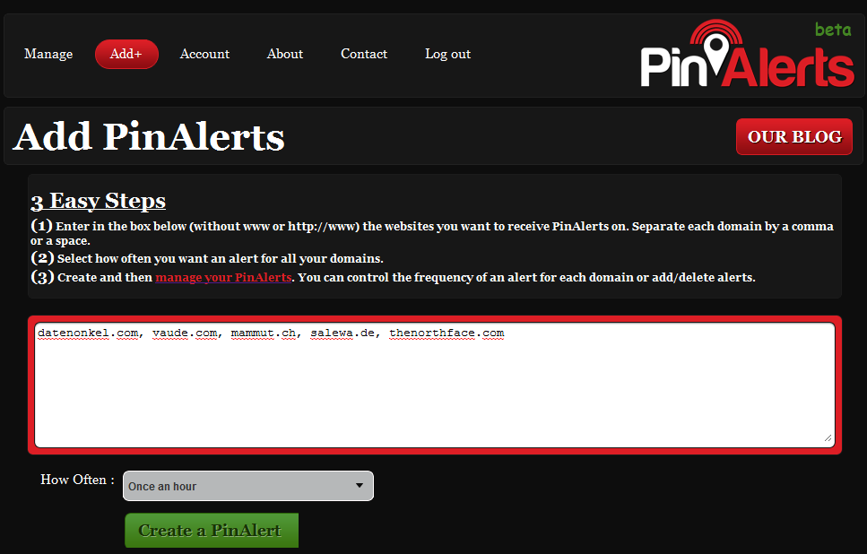 Pin Alerts anlegen