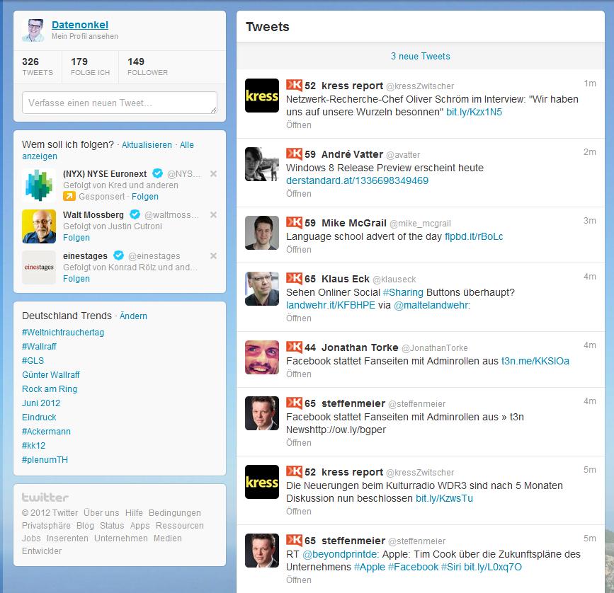 Twitter mit Klout Score