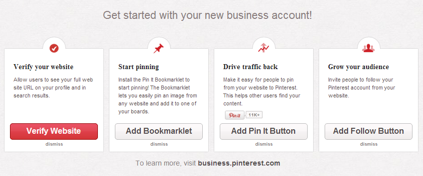 Startfenster Pinterest Business Account
