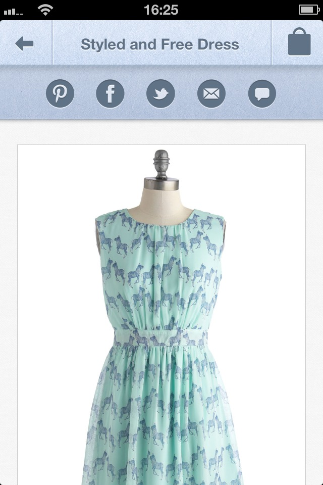 ModCloth App mit Sharing-Buttons