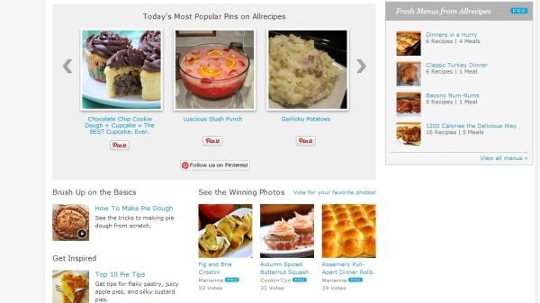 Pinterest-API: AllRecips Einbindung Homepage