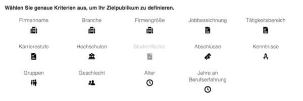 Zielgruppen-Auswahl bei LinkedIn