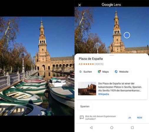 Google Lens erkennt die Plaza de España in Sevilla