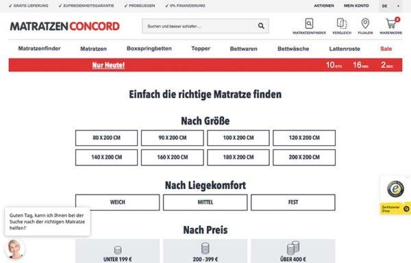 Optimierte Startseite von Matratzen Concord